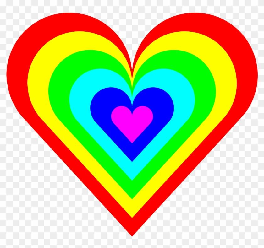 Elegant Clip Art 6 Medium Size - Rainbow Heart Clipart #176139