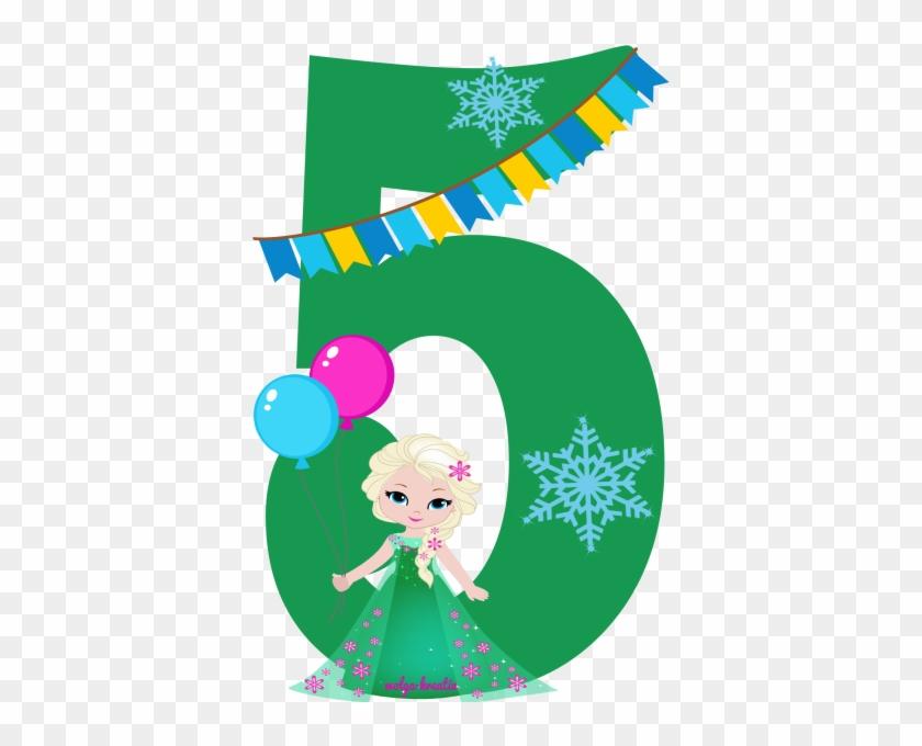 Bügelbild Applikation Geburtstag 5 Mädchen - Snowflakes And Patches