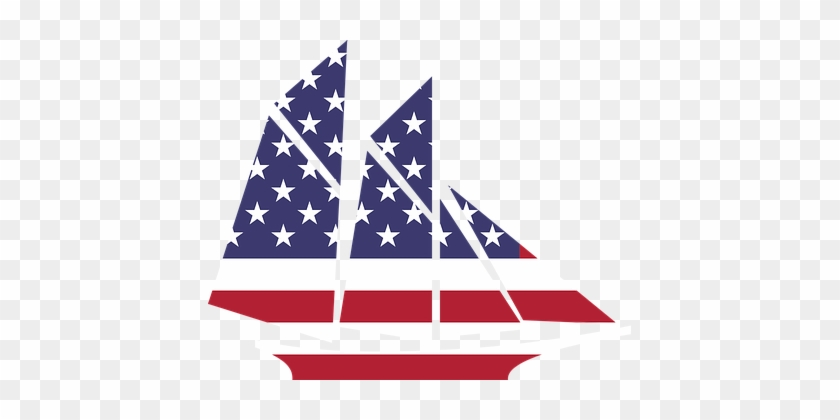 Amerika, Boot, Flagge, Ozean, Segelboot - American Flag Sailboat Clipart #177046