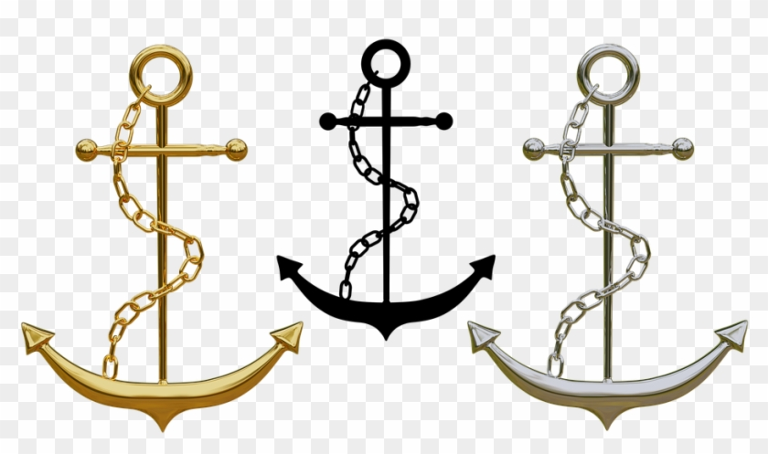 Anchor, Trailers, Jewellery, Isolated, Gold, Silver - Gold Anchor Png #177453