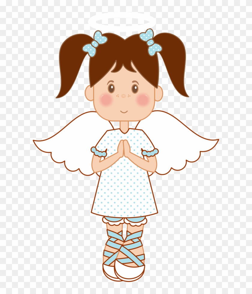 Angel Clipart Brown Hair Pencil And In Color - Angel For Christening Girl Clipart #177683