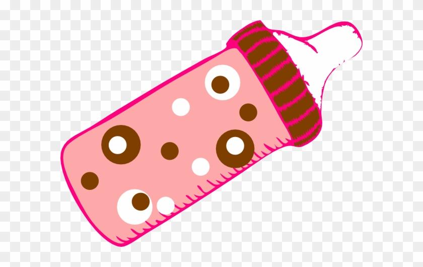 Dotted Pink Bottle Clip Art At Clker - Baby Bottle Clip Art #178281