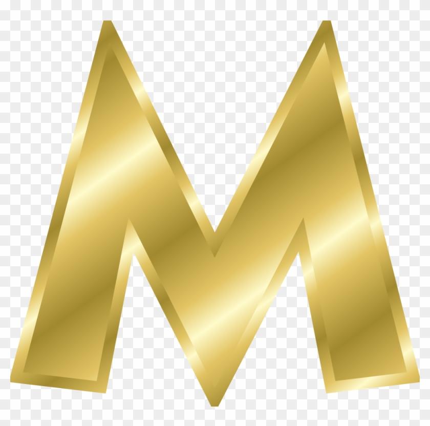 M, Capital Letter, Alphabet, Abc, Gold - Alphabet Letters In Gold #178399
