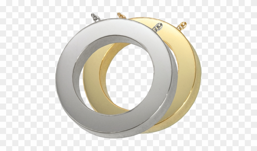 Slide Circle Jewelry Shown In Silver And Gold Metals - Sterling Silver Circle Shaped Cremation Jewelry Pendant #997291