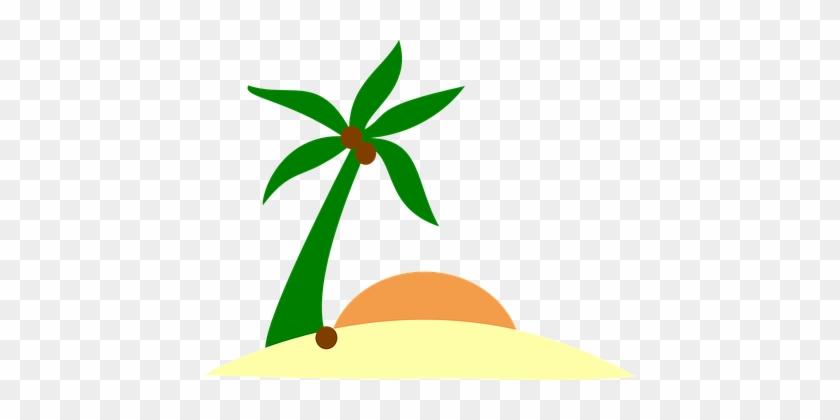 Sand Beach Island Palm Sun Tree Holiday Su - Palm Tree Island Png #999667