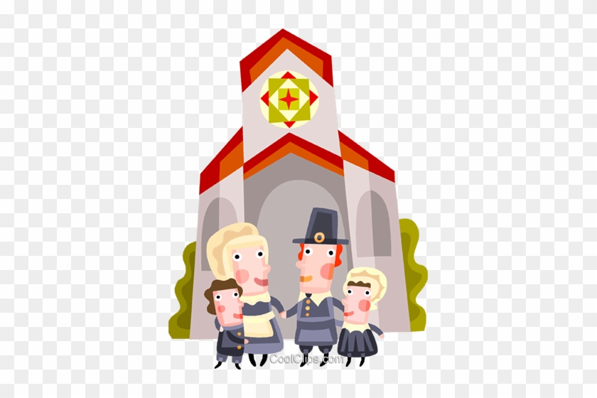 Pioneer Family Attending Church Royalty Free Vector Cartoon Free