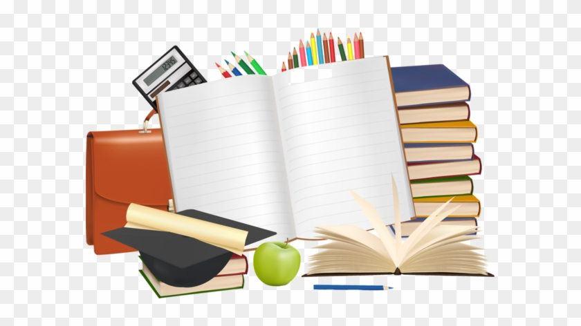 School Supplies Clip Art Back To School Graphics Stationery - School Supplies Background Vector #1001230