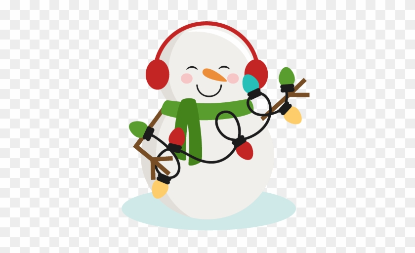 Snowman With Christmas Lights Svg Cutting Files For - Holiday Lights Clip Art #1002033