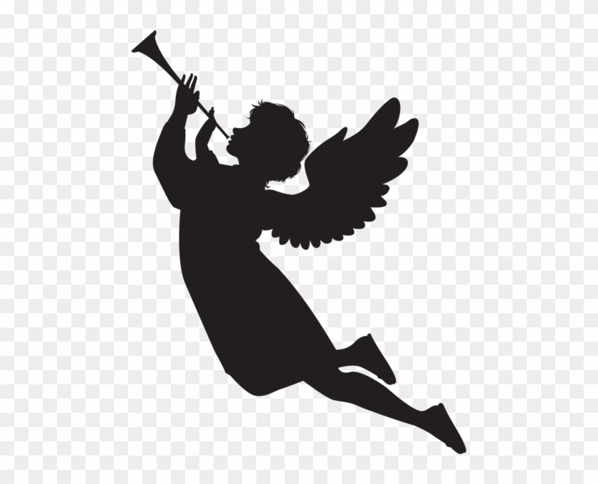Angel With Fanfare Silhouette Png Clip Art Image - Angel Silhouette Png #1002603