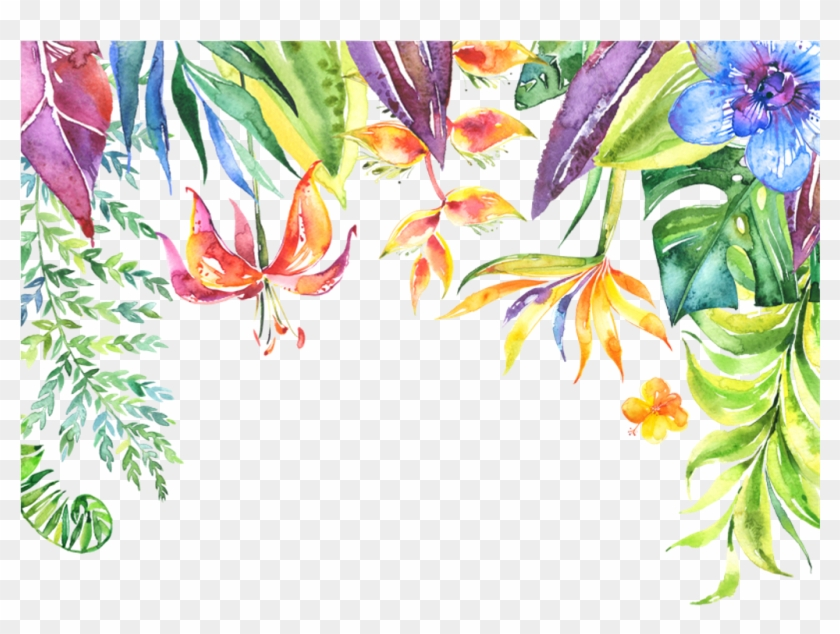 Tropical Leaves Flowers Plants Border - Tropical Frame Transparent Background #1004719