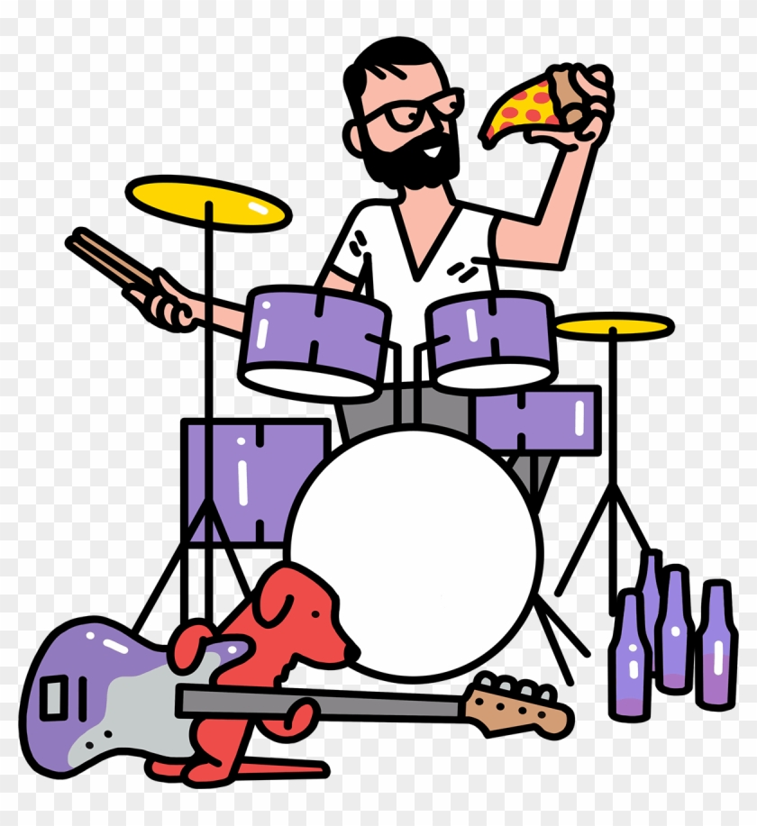 Creative Playing Drums, Eating Pizza And Drinking Beer - Pizza Drums #1004926