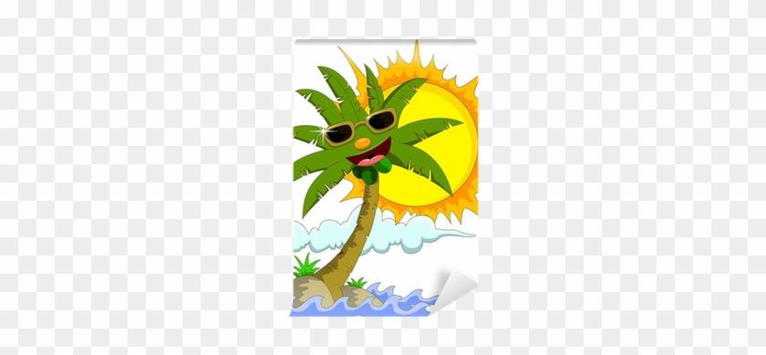 Tropical Island With Cartoon Palm Tree And Sun Wall - Palm Tree And Sun #1006160