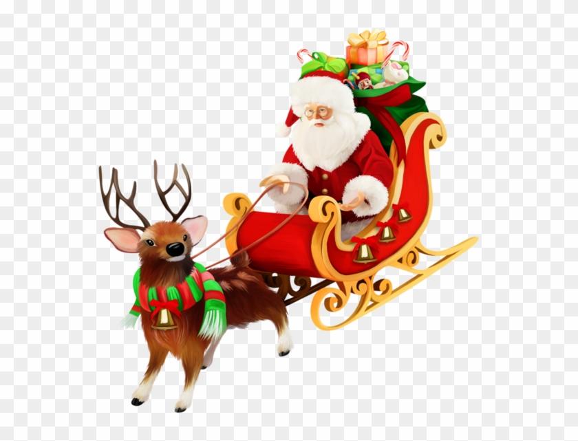 santa sleigh png pic cartoon santa in a sleigh free