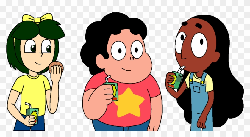 Steven, Connie And Breena Are Having Snacks By Magic - Steven Universe Drink Juice #1010778