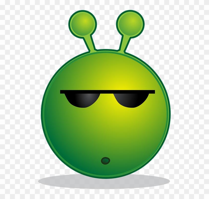 Alien Smiley Huh Emotion Emoticon Emoji Cartoon Green Alien