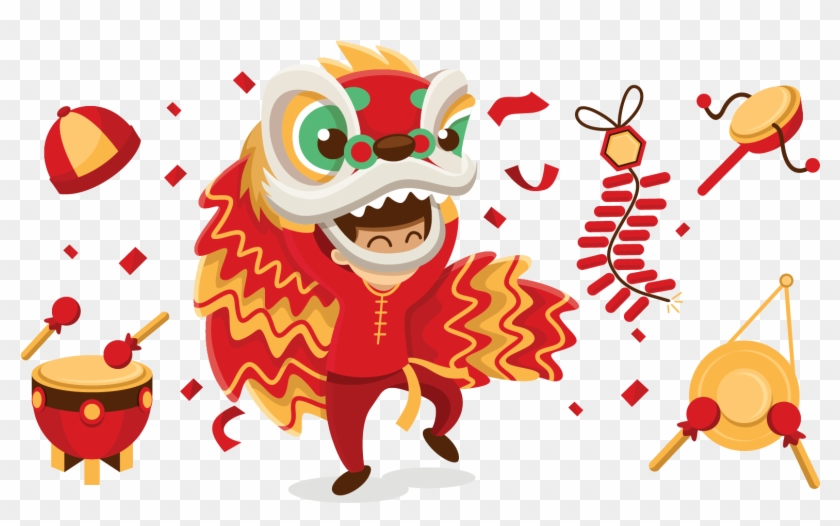 Lion Dance Chinese New Year Dragon Dance - Chinese Lion Dance Cartoon Png #1014628