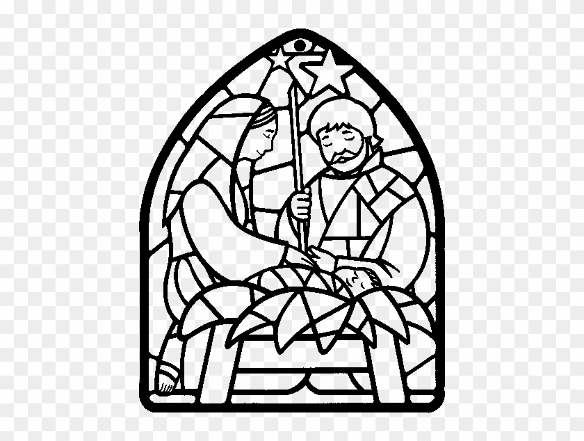 nativity scene christmas decorations coloring stained glass nativity coloring page