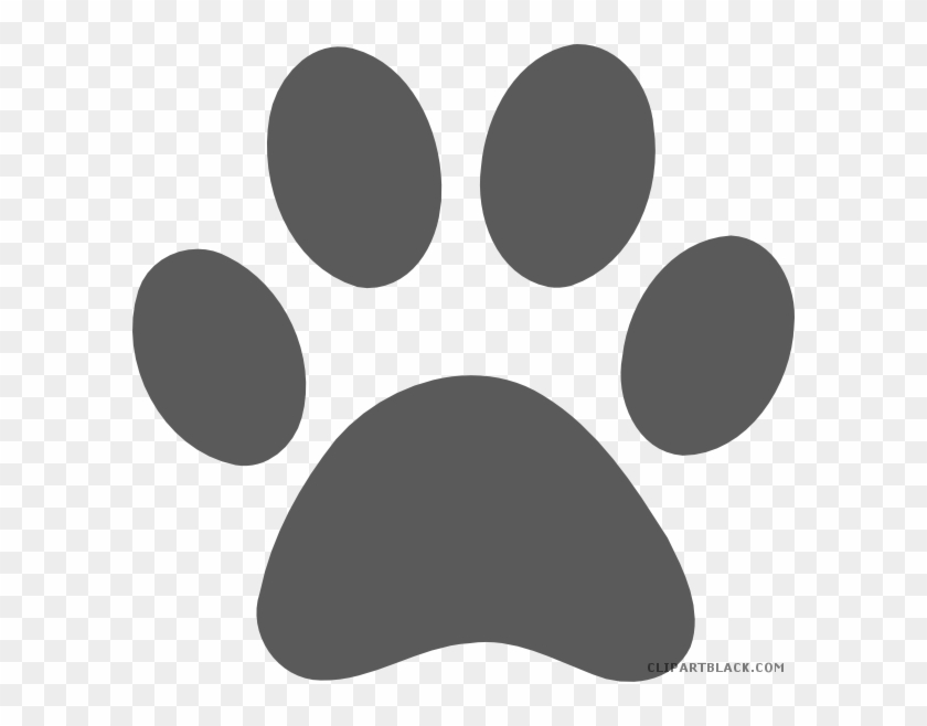 Grayscale Paw Print Animal Free Black White Clipart - Paw Print Transparent Background #1015776
