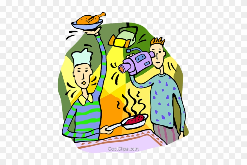 Filming A Cooking Show Royalty Free Vector Clip Art - Cooking Show Clipart #1018278