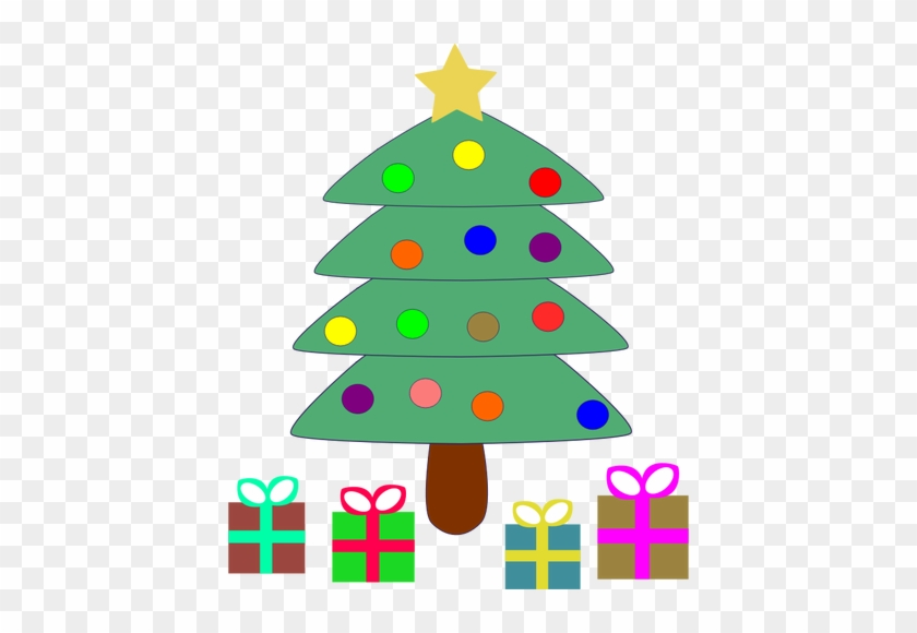 Vector Clip Arte De Dibujos Animados Presenta Bajo - Christmas Tree With Gifts Clipart #1018685