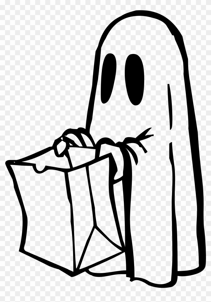 Ghost Bag Black White Hugs Halloween 1969px 182 - Ghost Trick Or Treating #1019627