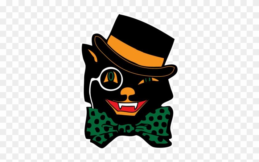 Halloween Black Cat Top Hat Bow Tie Cute Scary Omen - Cat Mask Monacle Hat Bowtie Halloween Hoodie Pullover #1020325