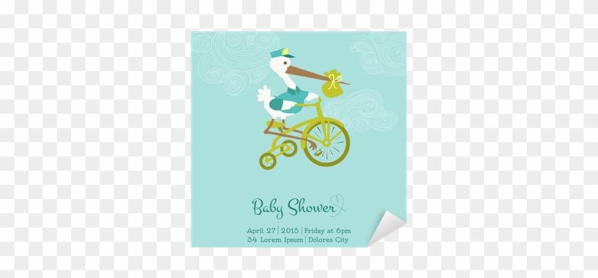 Sticker Baby Shower Ou Carte D'arrivée Avec Stork - Please Join Us Baby Shower #1020340