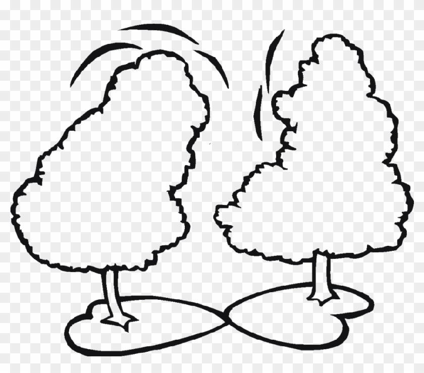 Pine Tree Clipart Two Tree - Two Trees Coloring Page #1020574