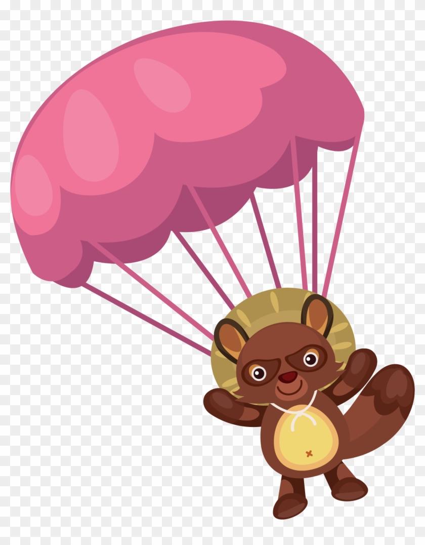 Raccoon Parachute Hat Clip Art Vector Bear And Balloon - Balloon #1020720