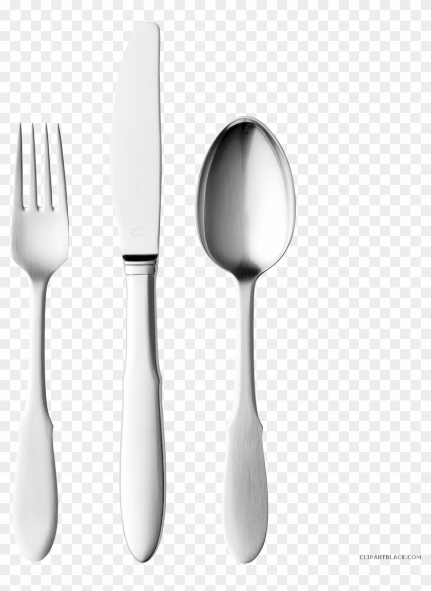 Knife Fork And Spoon Tools Free Black White Clipart - Knife Fork Spoon Clip Art #1020820