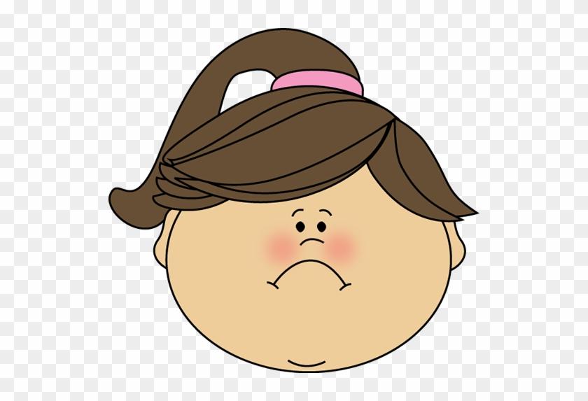 Sad Girl Face Clipart - Happy Girl Face Clip Art #1021433
