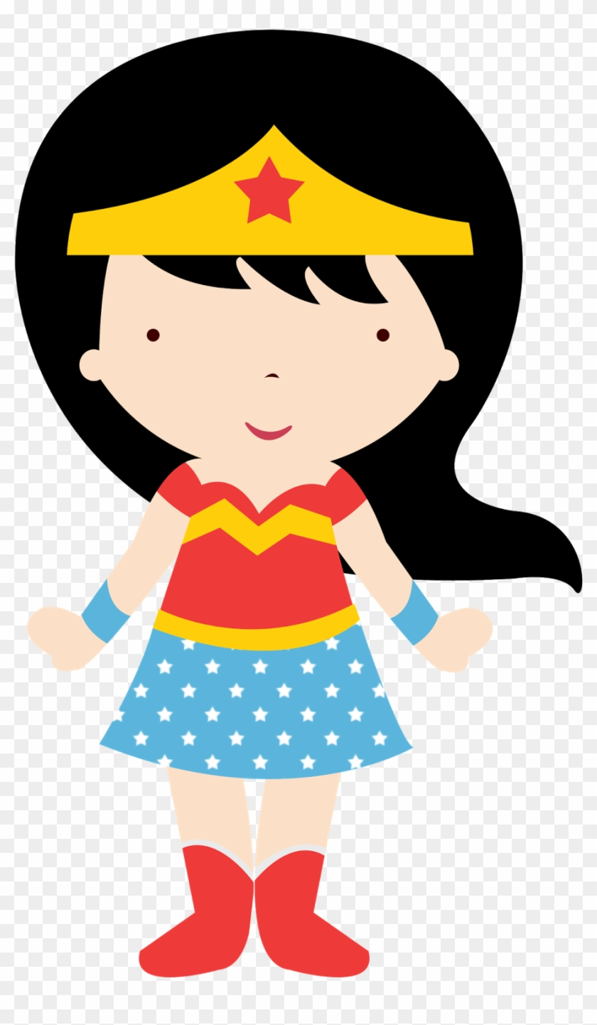 Wonder Woman Baby In Different Styles Clipart - Mujer Maravilla Caricatura Para Colorear #1021866