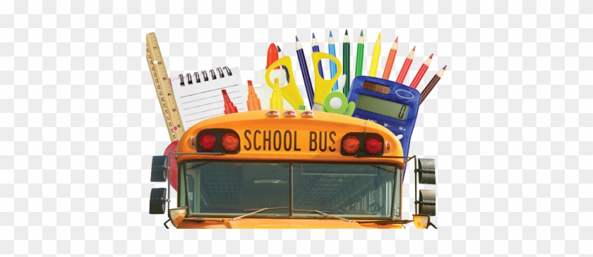 Donation Box With Toys And School Supplies Stock Photo - School Bus With School Supplies #1021891