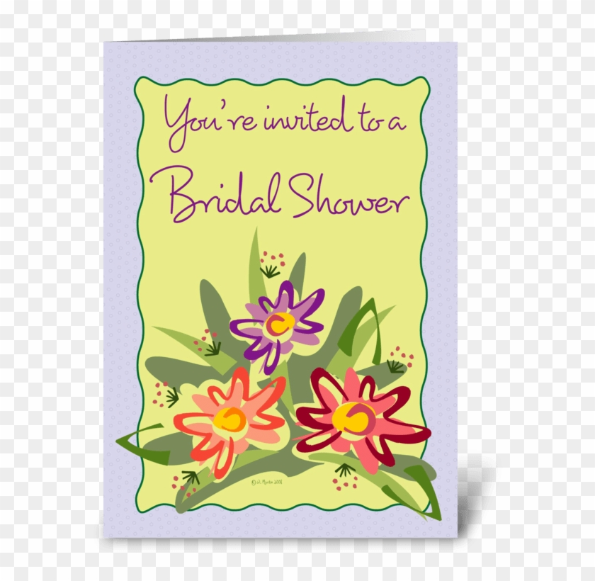 Flower Bouquet Bridal Shower Invite Greeting Card - Lilac Framed Flowers-birthday Card #1022007