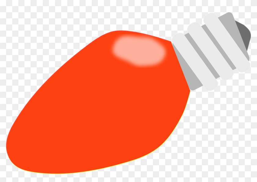 Bulb Clipart Orange - Red Christmas Light Bulb #1022144