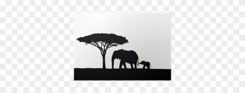 African Elephant With Baby Silhouette Poster • Pixers® - Elephants #1022379