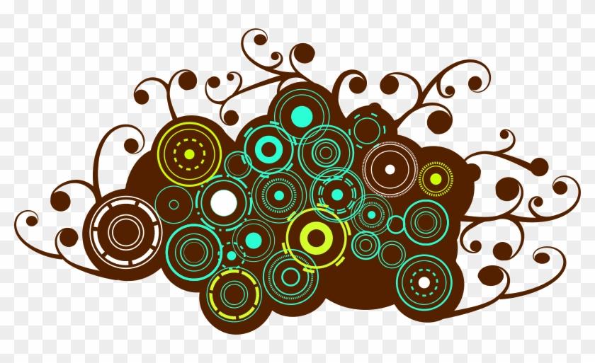 Free Browncircles Free Blots Free Splash - Retro Brown Circles Sticker (rectangle) #1024053