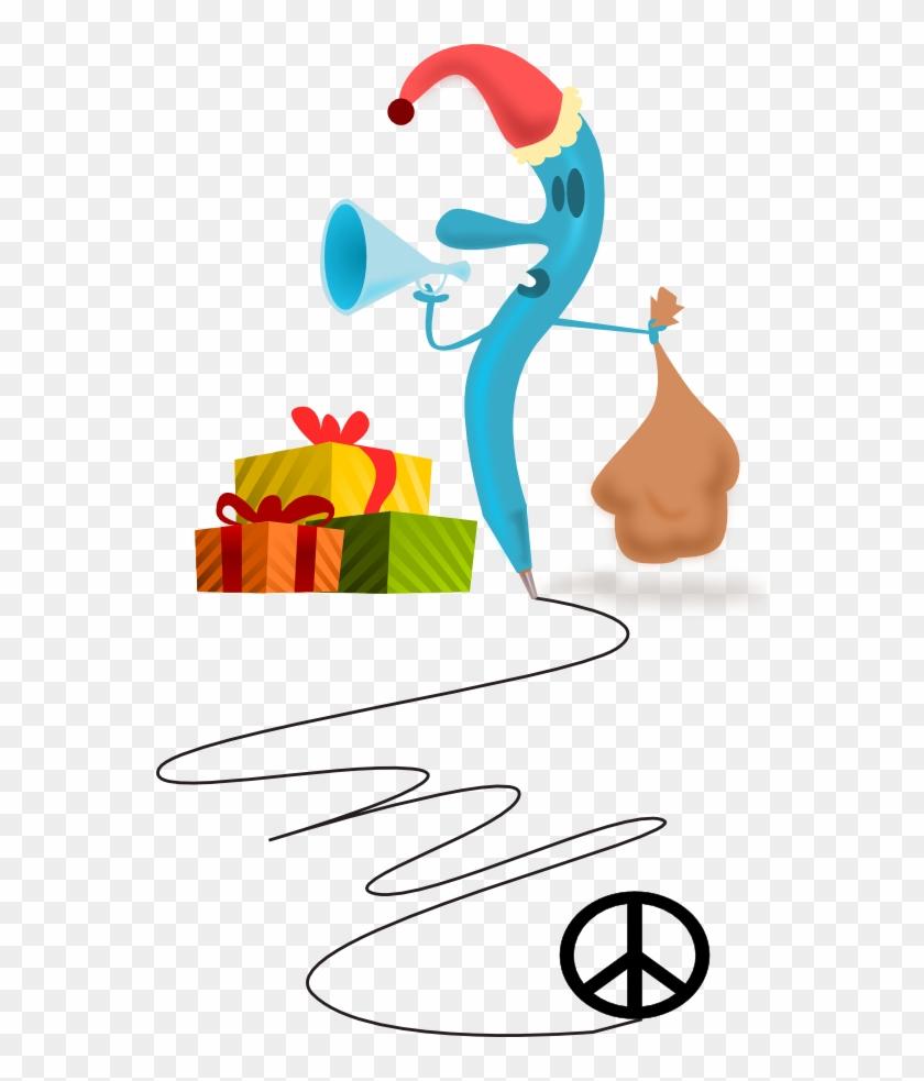 Santa Pen Peace Symbol Sign Coloring Book Colouring