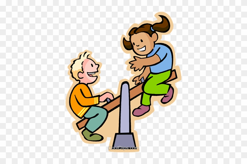 Boy And Girl On A Teeter Totter Royalty Free Vector - Boy And Girl On Seesaw #1026907