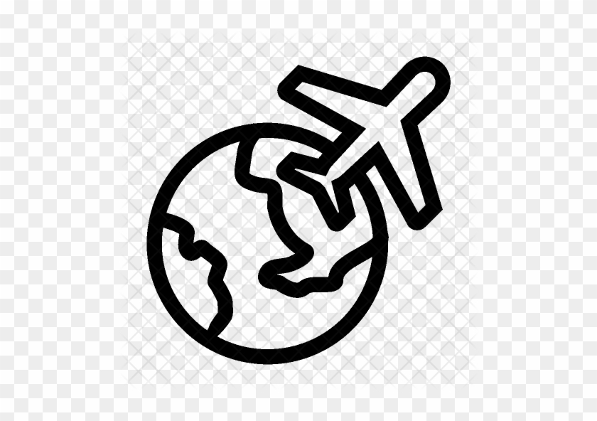 Cropped Abroad Travel Airplane Vacation World Global - Air Travel Around The World Icon #1027024
