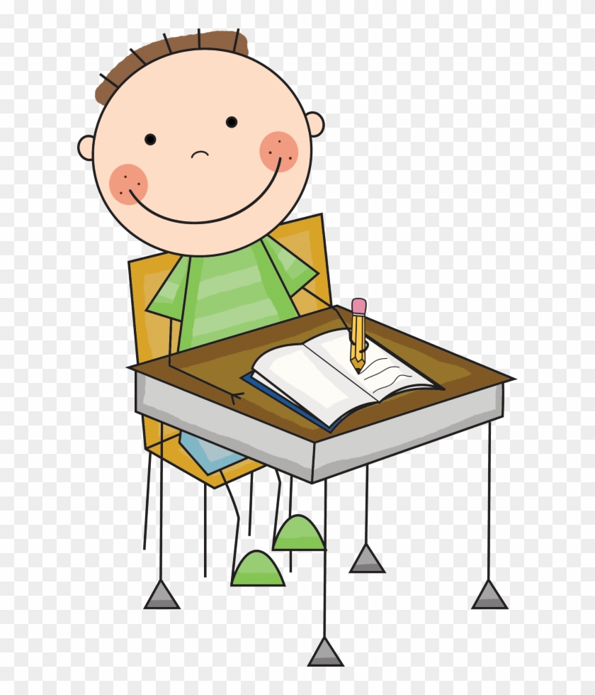 Please Use This Great Website To Practice Spelling - Student At Desk Clip Art #1027076