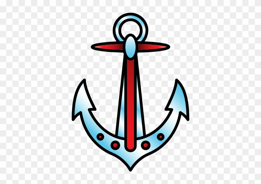 Anchor Free Icon - Old School Tattoo Anchor Png #178600