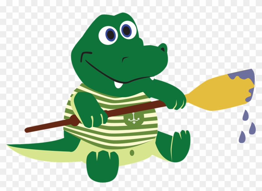 Crocodile Alligator The Sailor Paddle Oar - Alligator Clipart Pixabay #179073