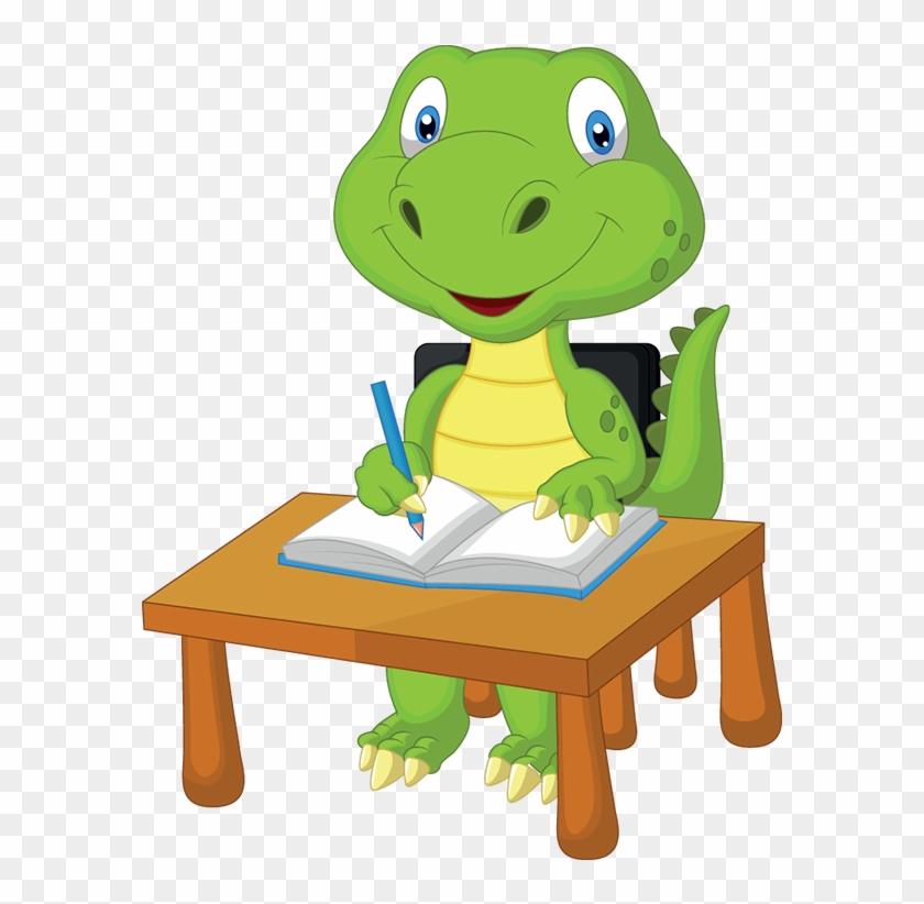 Dino-study - Cartoon Dinosaur At School #179341
