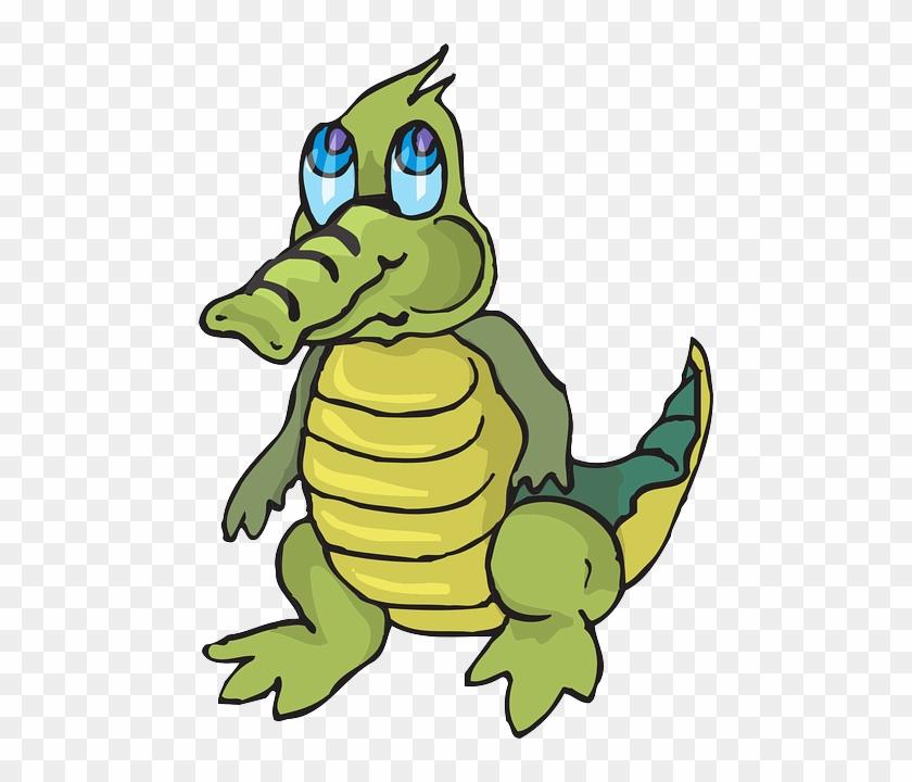 Cartoon, Little, Cute, Looking, Alligator - Cute Cartoon Crocodile #179373