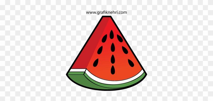 Kapruz Dilimi Vektörel Çizim - Cartoon Watermelon #179517