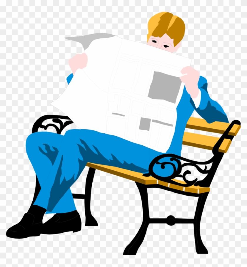 Reading Bench - Man Reading Newspaper Illustration #179671