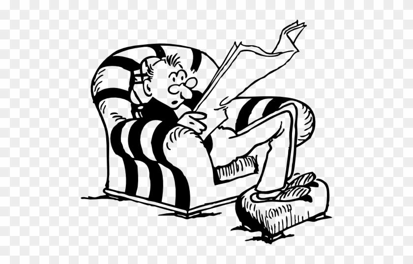 Slouching Man Reading Paper - Old Man Reading Newspaper Cartoon #179684