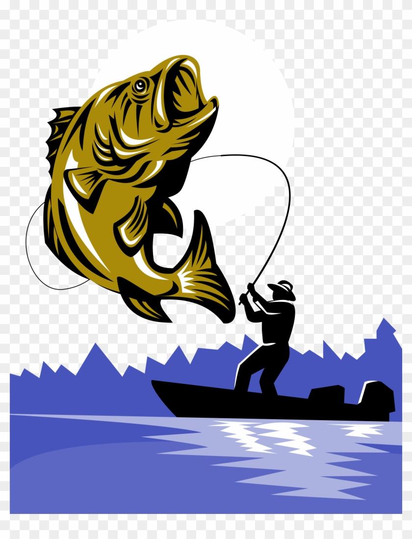 Bass Fishing Fishing Rod Fly Fishing - Cartoon Fly Fishing Png #180762