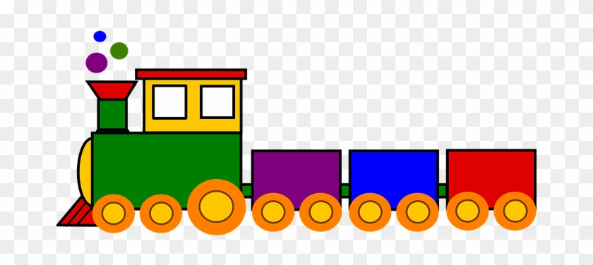 Train Toy Colorful Locomotive Railway Smok - Toy Train Clipart #181393